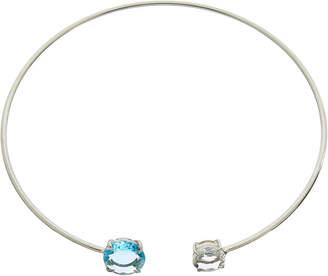 Bounkit Silver Blue Quartz Choker Necklace