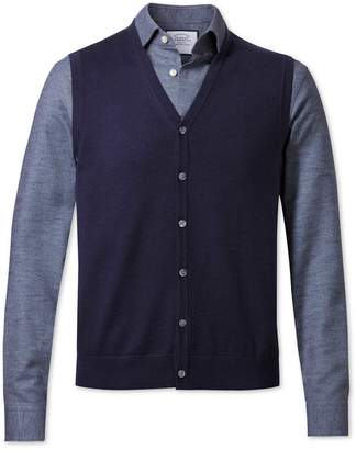 Charles Tyrwhitt Navy Merino Wool Vest Size Large