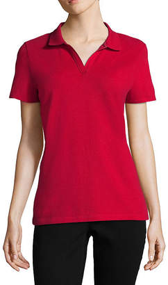 ST. JOHN'S BAY Womens Collar Neck Short Sleeve Knit Polo Shirt Petite