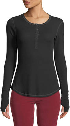 Sweet Romeo Topstitched Snap-Front Thermal Henley Tee