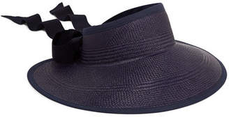 Sensi Studio - Grosgrain And Canvas-trimmed Toquilla Straw Visor - Navy