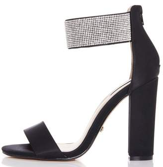 Quiz Black Diamante Ankle Strap Block Heel Sandals