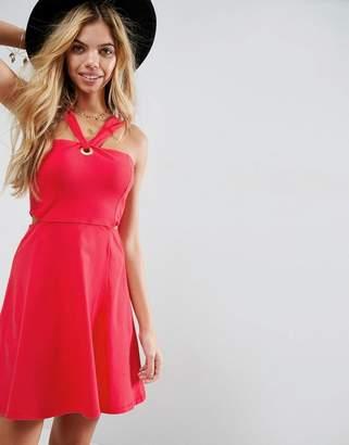 Asos DESIGN Eyelet Twist Detail Mini Dress With Cut Out Detail