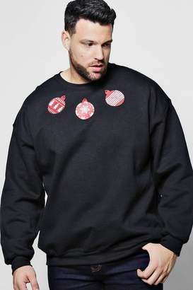 boohoo Big And Tall Christmas Bauble Print Sweater