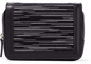 M Missoni Crochet Knit-Paneled Leather Shoulder Bag