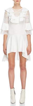 Romanchic White Lace Ruffled Dress