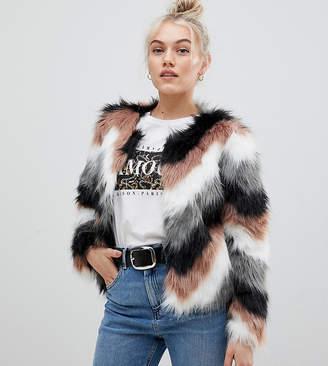 Brave Soul Petite crissy faux fur wave coat