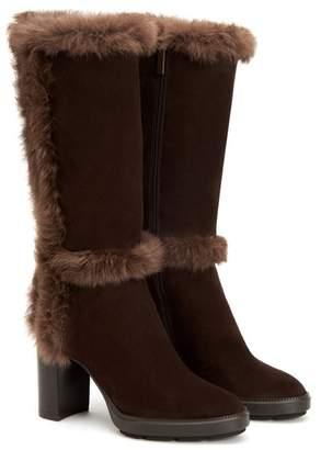 Aquatalia Imelda Genuine Rabbit Fur Trim Suede Boot