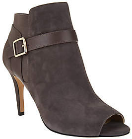Marc Fisher Leather or Suede Peep-Toe AnkleBoots - Shimmee