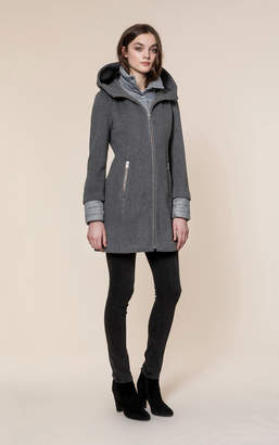 Soia & Kyo ROONEY slim fit hooded mixed media coat with puffy bib