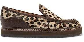See by Chloe Leather-Trimmed Leopard-Print Calf Hair Loafers