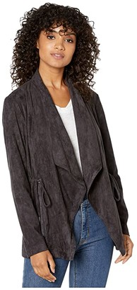 Cupcakes And Cashmere Naomi Drape Front Faux Suede Jacket w/ Cinch Waist