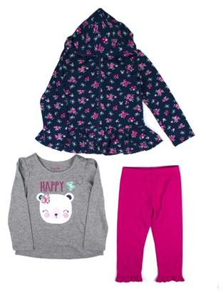 Nannette Printed Zip Hoodie, Graphic Long Sleeve Tee, and Metallic Legging, 3-Piece Outfit Set (Little Girls)