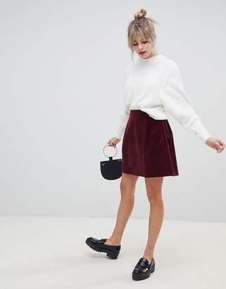 Asos Design DESIGN tailored cord mini skirt in burgundy