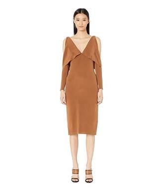 Cushnie Deep V Pencil Dress with Folded Drape and Open Sleeve