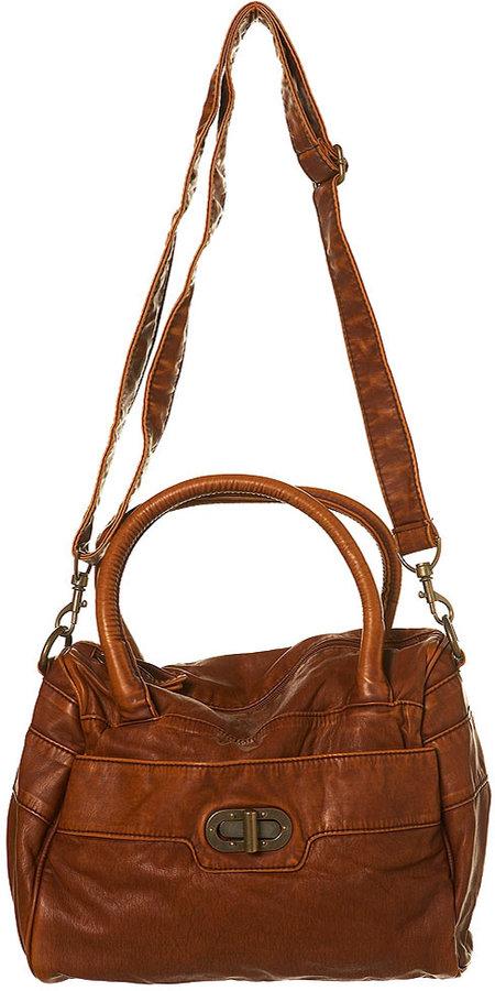 Washed Twist Lock Holdall Bag