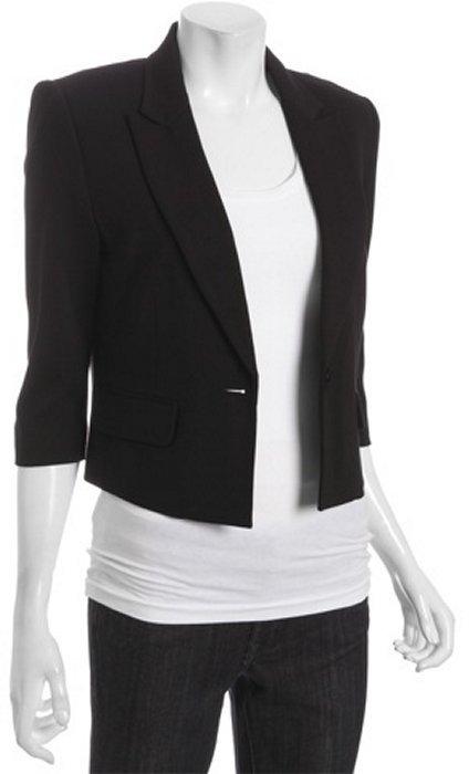 BCBGMAXAZRIA black ponte knit cropped blazer