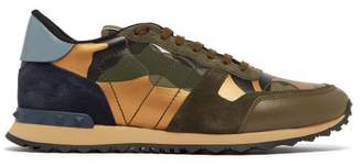 Valentino Camouflage Rockrunner Suede And Leather Trainers - Mens - Green