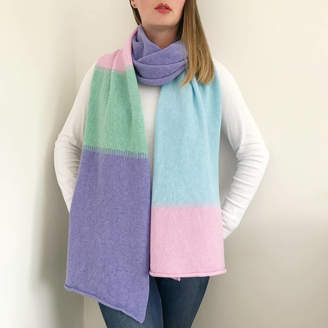 Little Knitted Stars Pastel Colour Block Wrap Scarf