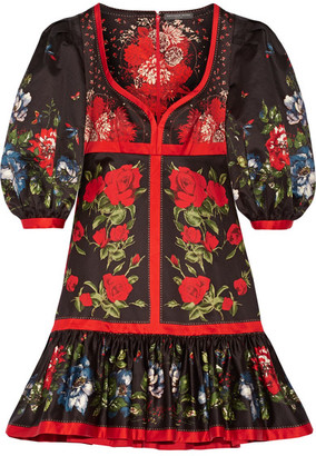 Alexander McQueen - Floral-print Cotton Mini Dress - Red $3,685 thestylecure.com