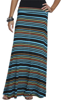 Wet Seal WetSeal Multi Color Stripe Maxi Skirt Pink