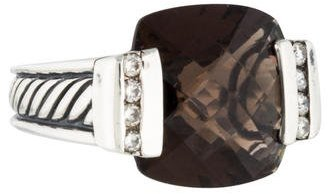 David Yurman Smoky Quartz and Diamond Sculpted Cable Ring $845 thestylecure.com