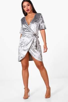 boohoo Velvet Frill Wrap Dress