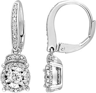 Sterling Silver 1/3 Carat T.W. Diamond Round Drop Leverback Earrings