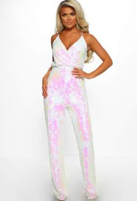 7e1f8f8f382 Pink Boutique Slay Queen White Sequin Wrap Front Wide Leg Jumpsuit