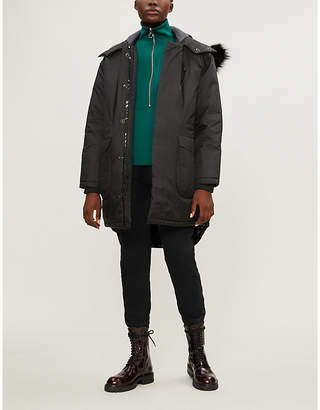 BIANNUAL Faux fur-trimmed padded shell hooded coat