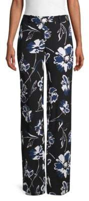 Michael Kors Floral-Print Wide-Leg Pants