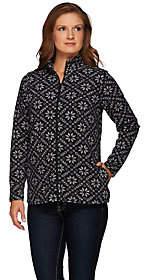 Denim & Co. Active Nordic Printed Fleece ZipFront Jacket