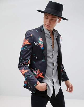 Asos DESIGN Super Skinny Blazer With Phoenix Print