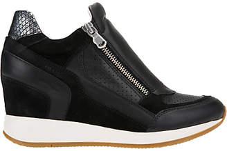Geox Nydame Wedge Heel Zip Up Trainers, Black