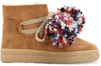 Suede & Shearling Boots W/ Pompoms