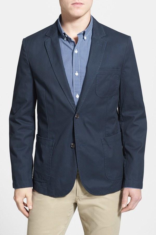 BonobosBonobos Blue Woven Two Button Notch Lapel Cotton Regular Fit Blazer