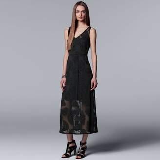 Vera Wang Women's Simply Vera Palm Jacquard Maxi Dress