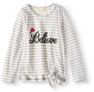 Btween Little Girls' Sequin Graphic Striped Long Sleeve Top