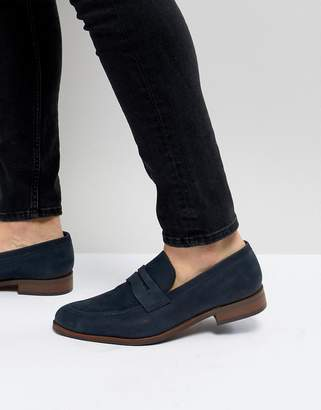 Dune Penny Loafers In blue Nubuck