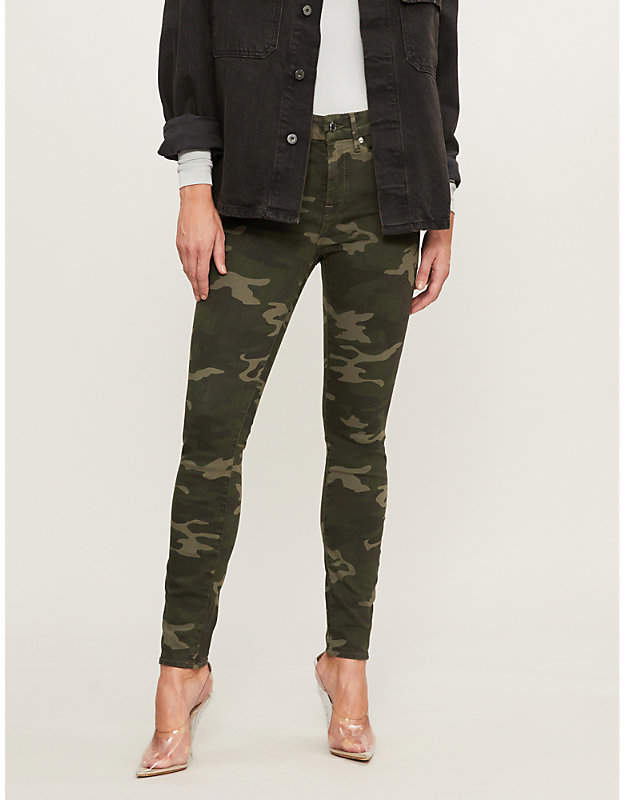 Army camouflage-print Good Legs slim-fit high-rise jeans