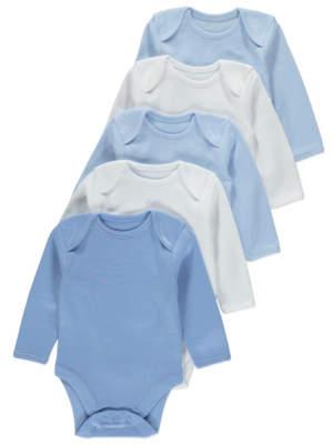 George Blue Long-Sleeved Bodysuit 5 Pack