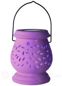 Fliederfarbenes LED-Solar-Windlicht Clay Lantern