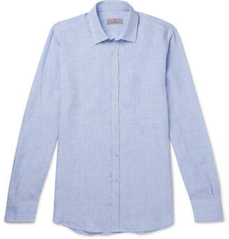 Canali Checked Linen Shirt - Men - Blue