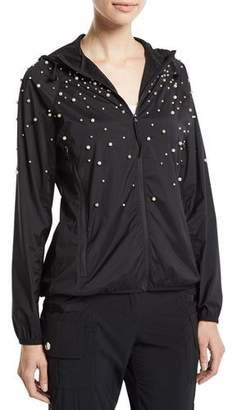 RED Valentino Long-Sleeve Hoodie Jacket w/ Pearly Detail