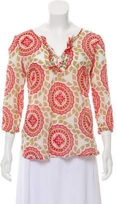 Calypso Printed V-neck Top