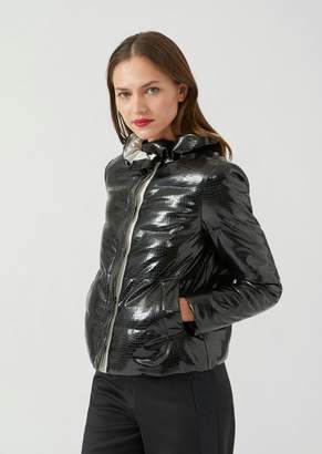 Emporio Armani Vinyl Quilted Jacket With Croc Print