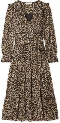 MICHAEL Michael Kors Belted Ruffled Leopard-print Georgette Midi Dress - Leopard print