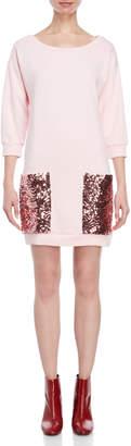 Atos Lombardini Pink Sequin Pocket Sweatshirt Dress