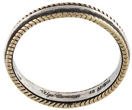 Ugo Cacciatori Gold- und Silberring mit geflochtenem Detail