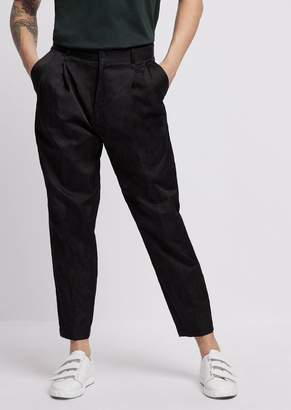 Emporio Armani Crinkle Cotton Viscose Pants With Darts